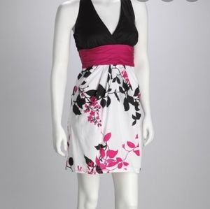 Speechless black and pink, floral halter dress